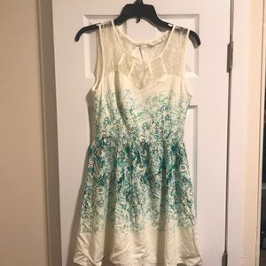 Cream and floral lace insert top dress